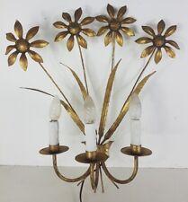 Belle grande applique vintage 4 fleurs en métal doré
