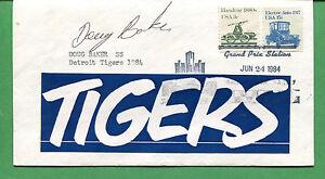 Autografato Cover Doug Baker 1984 Detroit Tigers Pantaloncini Stop - B0793
