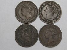4 Victoria Canadian Large Cent Coins: 1859, 1892, 1900-H & 1901.  #8
