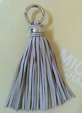 Michael Kors MK Logo Silver / Cement Grey Leather Tassel Handbag Fob Hang Tag