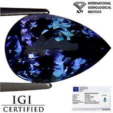 6.79 Ct IGI Certified AA Natural D Block Tanzanite Violet Green Color Pear Cut