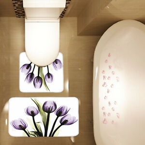2 Piece Bathroom Mat Set Tulip Purple Flower Print Non Slip Bath Mat Contour Mat