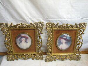 Pr Vintage Ornate Victorian Framed Prints Cameo Home Decor Ladies