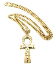 "NEW ANKH CROSS HIP HOP PENDANT &6mm/36"" CUBAN LINK CHAIN NECKLACE - XP935CC"