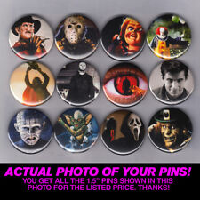 "HORROR ICONS - 1.5"" PINS  BUTTONS (nightmare elm friday 13th it halloween scream"