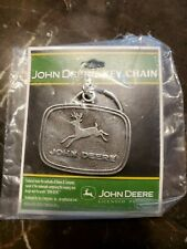 New Sealed John Deere Metal Key Chain Nos Embossed Logo Design Made In Usa