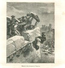 Terreur blanche  1795 MASSACRE CHATEAU TARASCON GRAVURE ANTIQUE OLD PRINT 1883
