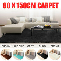 Floor 80x150cm Carpet Silk Soft Mat Fluffy Rug Shaggy Home Living Room