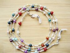 Reading Glasses Chain Handmade Small Mixed Colour Glass Pearl Beaded UK