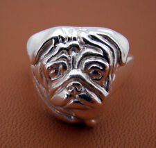 Large Sterling Silver Pug Head Study Ring