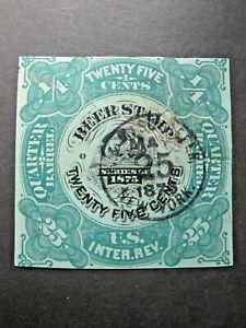 vTg US REA32 1875 25 cents Beer Stamp SCV $40 Quarter Barrel Revenue USIR green