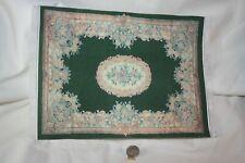 Miniature Dollhouse Vintage Aubusson Floral Rug Printed Fabric Silk Fringe 10x7