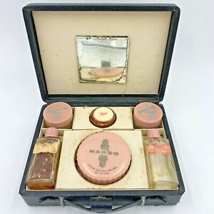 Vintage Elmo Cosmetic Vanity Case Margo Powder Compact Cream Jars 1940s FR3