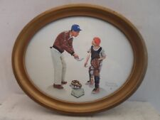 antique oval picture frame, baseball print by Rockwell 9 by 11 inches  # 825