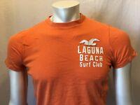 Hollister Men's Orange Crew Neck Short Sleeve T-Shirt Size Small Logo