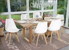 6x Esszimmerstuhl HWC-E53, Küchenstuhl, weiß/weiß, Kunstleder, helle Beine