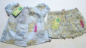 NWT Gymboree FLORAL PATCHWORK Quilted Top+Bloomers SET Blue/Yellow Gingham 3-6