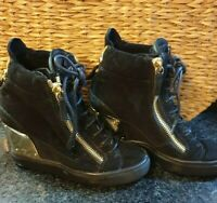 Giuseppe Zanotti Womens Lace Up Wedge Sneakers Black Leather Europe Size 35