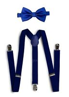 Royal Blue Suspender and Bow Tie Set for Teens Adults Men Women (USA Seller)
