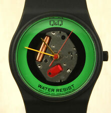 Q&Q (Citizen) Vintage Green Skeleton Watch 32mm Made in Japan New Old Stock