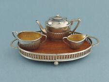 Antique English Doll House Miniature Sterling Silver 4 Piece Tea Set 1905
