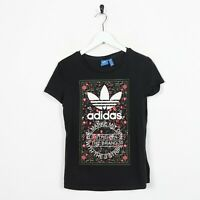 Vintage Women's ADIDAS ORIGINALS Big Graphic Logo T Shirt Tee Black | UK 10