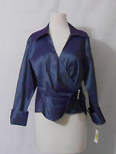 U 3 COLLECTION - PURPLE IRIDESCENT LONG SLEEVE DRESSY BLOUSE - SZ 16 - NWT