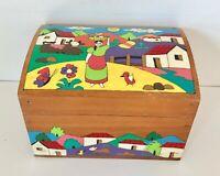 Vintage La Palma El Salvador folk art wood hand crafted painted box
