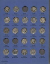 70 Coin Mercury Dime Set Circulated Almost Complete