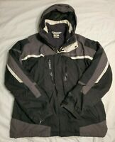 ❤️ MENS LARGE COLUMBIA FIELD GEAR BLACK WHITE GRAY WINTER JACKET FLEECE LINED ❤️