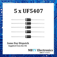 5 x UF5407 Diodes 800V 3Amp 2-Pin DO-2 Soft Recovery Ultrafast Plastic Rectifier