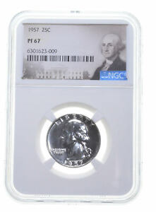 1957 PF67 Proof Washington Quarter NGC Graded - White Coin Spot Free PR67 *0724