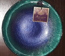 "Artistic Accents Decorative Glass Bowl Blue & Green Blend 10.5"" New Handmade"