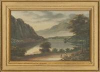 C.F. Hurst - Framed Early 20th Century Oil, Mountainous Lake Scene