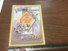 original unused Label: Violet perfumed extract of Witch-Hazel - wm j uebler NY