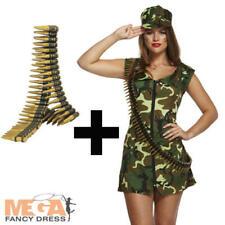 Sexy Army Girl + Bullet Belt Ladies Fancy Dress Camo Military Uniform Costume