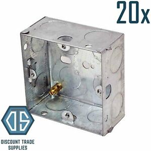20x 1 Gang 35mm Single Metal Back Box Galvanised Switch Socket Back Boxes