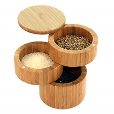 Bamboo Spice Holder Sea Salt Condiments Storage Container Organizer Kit New
