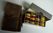 Vintage Colorful Poker Chips in Leather Case