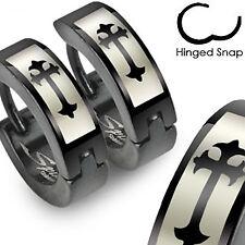 Hoop Earrings w/ Cross Design Pair of Surgical Steel Black Hinged