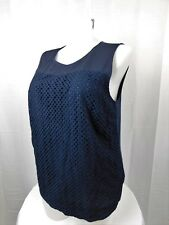 Calvin Klein Plus Size Sleeveless Eyelet Tank Top 0X Twilight Navy Blue #3066