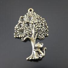 25X Vintage Style Bronze Tone Cat Climb Tree Pendant Charms 34*22*4mm