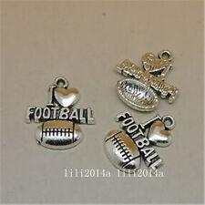 10pc Tibetan Silver Rugby football Charm Bead Pendant Jewellery Making  PL934