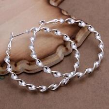 Elegant Ripple Twisted Round Hoop Earrings Women 925 Sterling Silver 45 mm