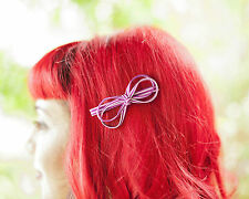 Pink and white stripe Bow Hair Clip!