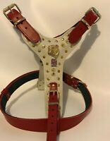 LEATHER DOG HARNESS/BRITISH BULLDOG HARNESS/REAL LEATHER - RED AND WHITE/STUDS