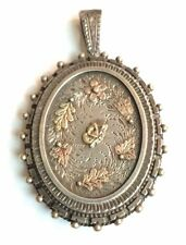 Antique Victorian Locket Pendant Sterling Silver, Rose & White Gold Charity Item