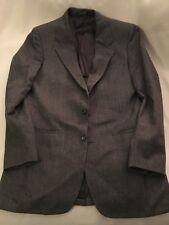 """Kuppenheimer Suit jacket dark gray thin herringbone 44"""" chest split back pockets"""