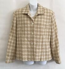Nygard Collection Sz 12 Taupe/Beige/Gold Metallic Plaid Tweed Jacket Wool Blend
