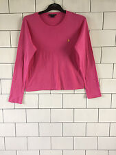 WOMEN'S RALPH LAUREN URBAN VINTAGE RETRO PINK LONG SLEEVED T SHIRT TOP 14/16